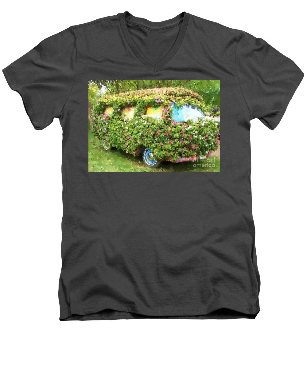 Volkswagen Men's V-Neck T-Shirt featuring the photograph Magic Bus by Debbi Granruth