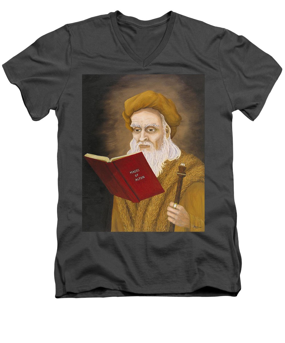 Magic Men's V-Neck T-Shirt featuring the painting Magic Of Alton by Roz Eve