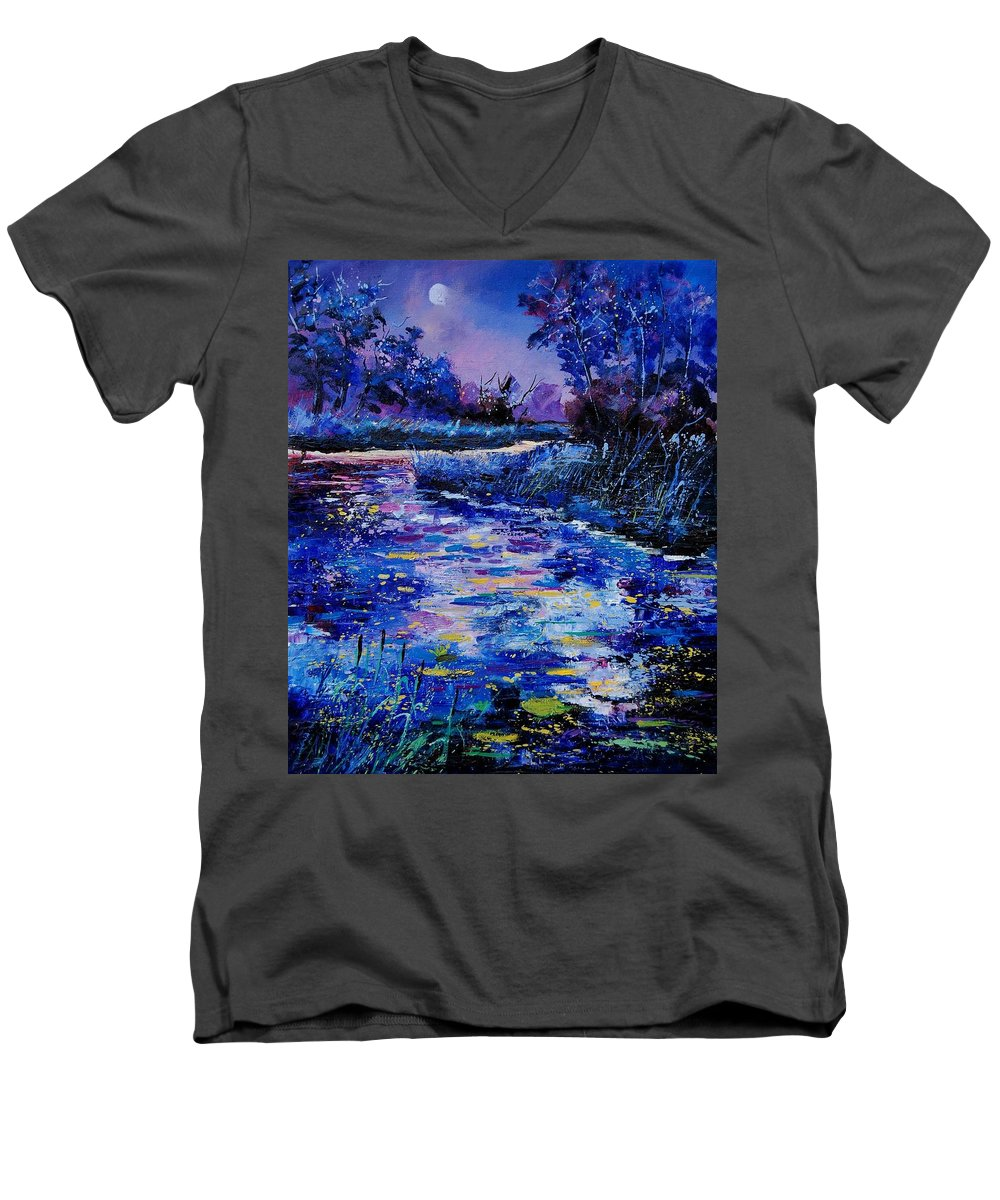 River Men's V-Neck T-Shirt featuring the painting Magic Pond by Pol Ledent