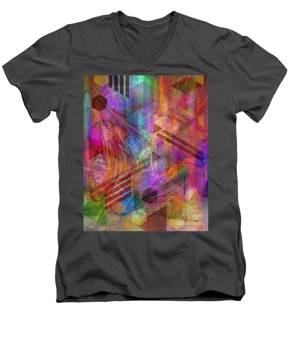 Magnetic Abstraction Men's V-Neck T-Shirt featuring the digital art Magnetic Abstraction by John Beck