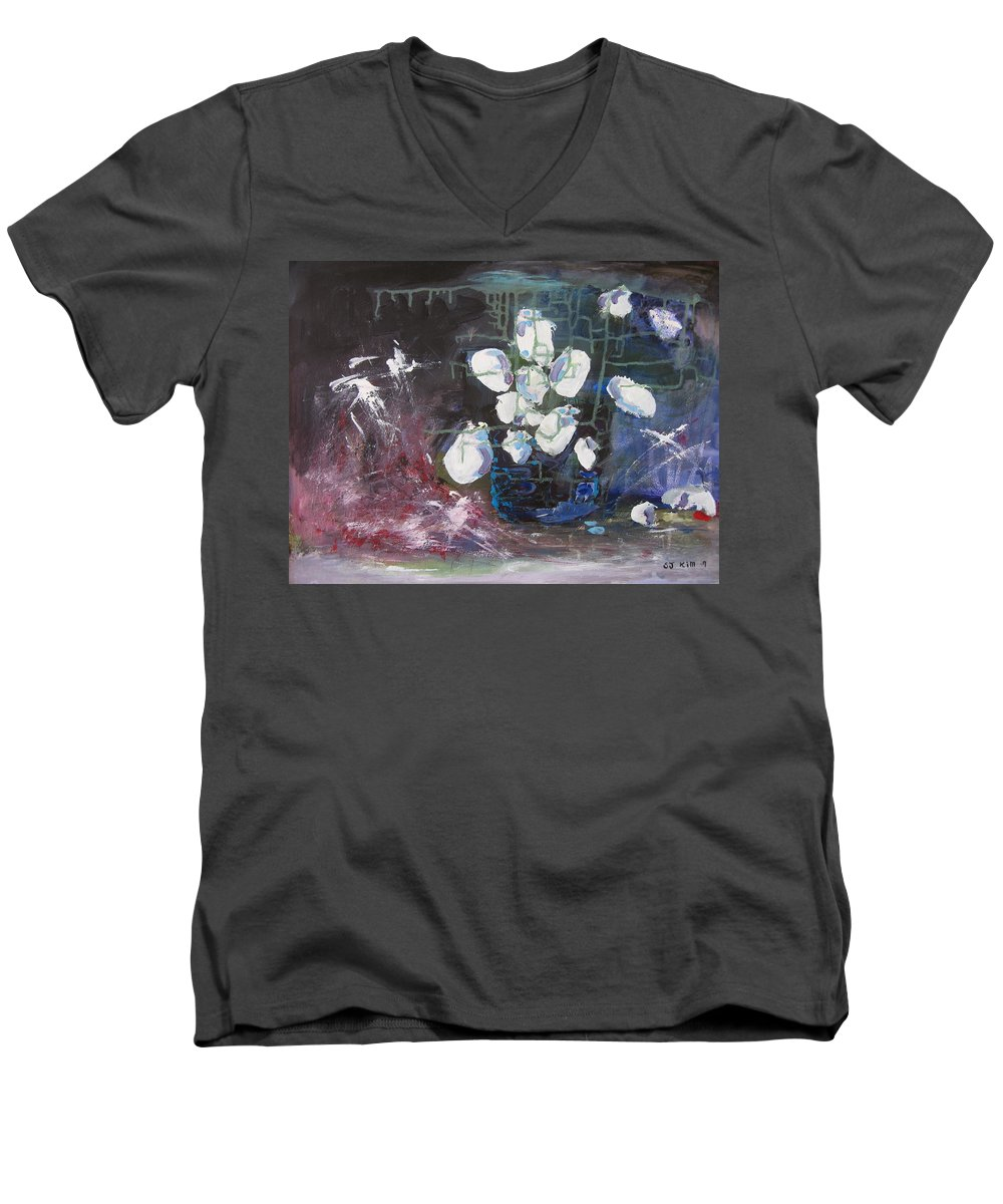 Abstract Paintings Men's V-Neck T-Shirt featuring the painting Magnolia by Seon-Jeong Kim