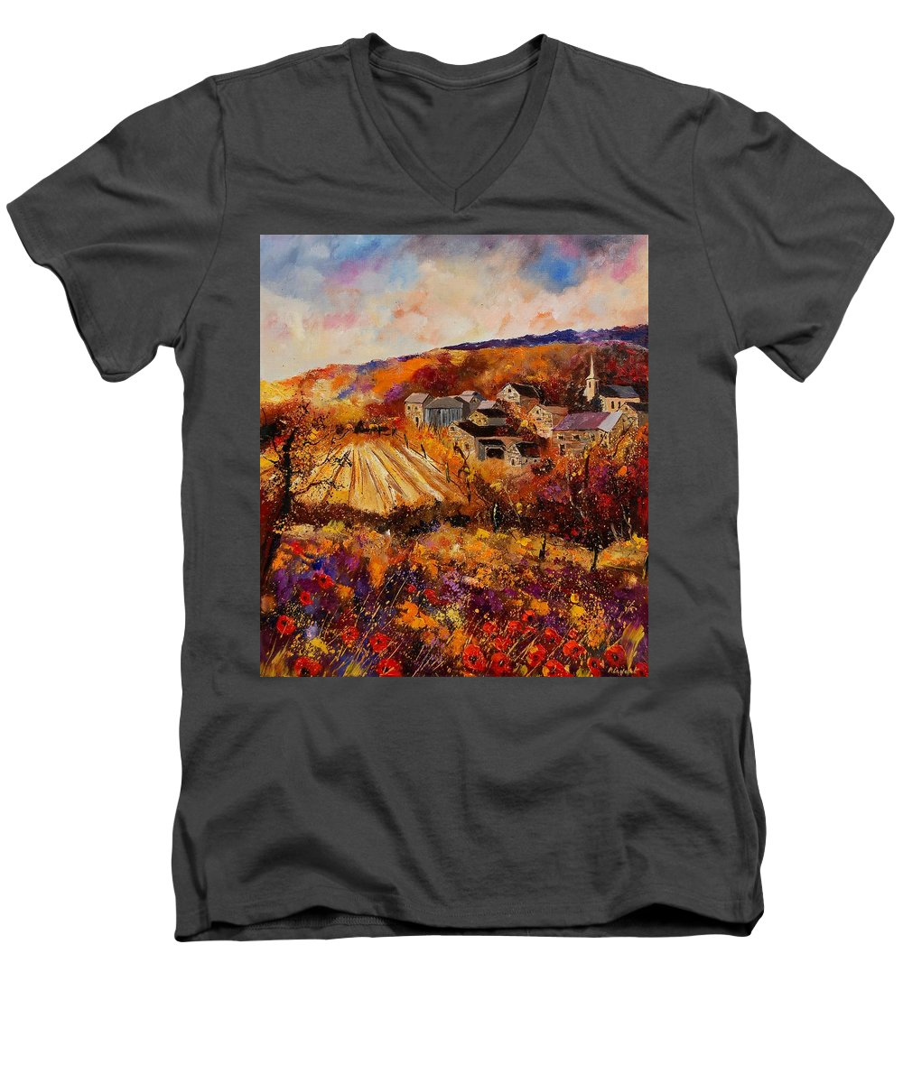 Poppies Men's V-Neck T-Shirt featuring the painting Maissin by Pol Ledent