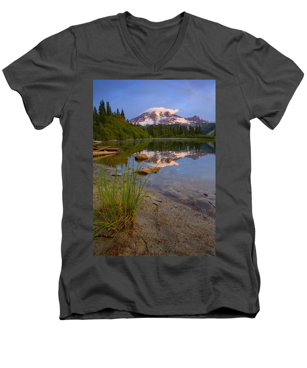 Mt. Rainier Men's V-Neck T-Shirt featuring the photograph Majestic Glow by Mike Dawson