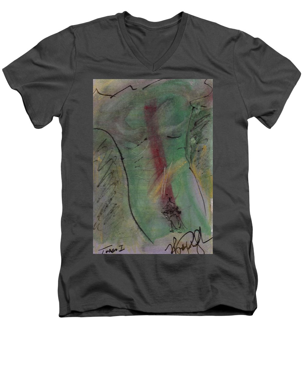 Nude Men's V-Neck T-Shirt featuring the painting Male Nude Torso 1 by Wayne Potrafka