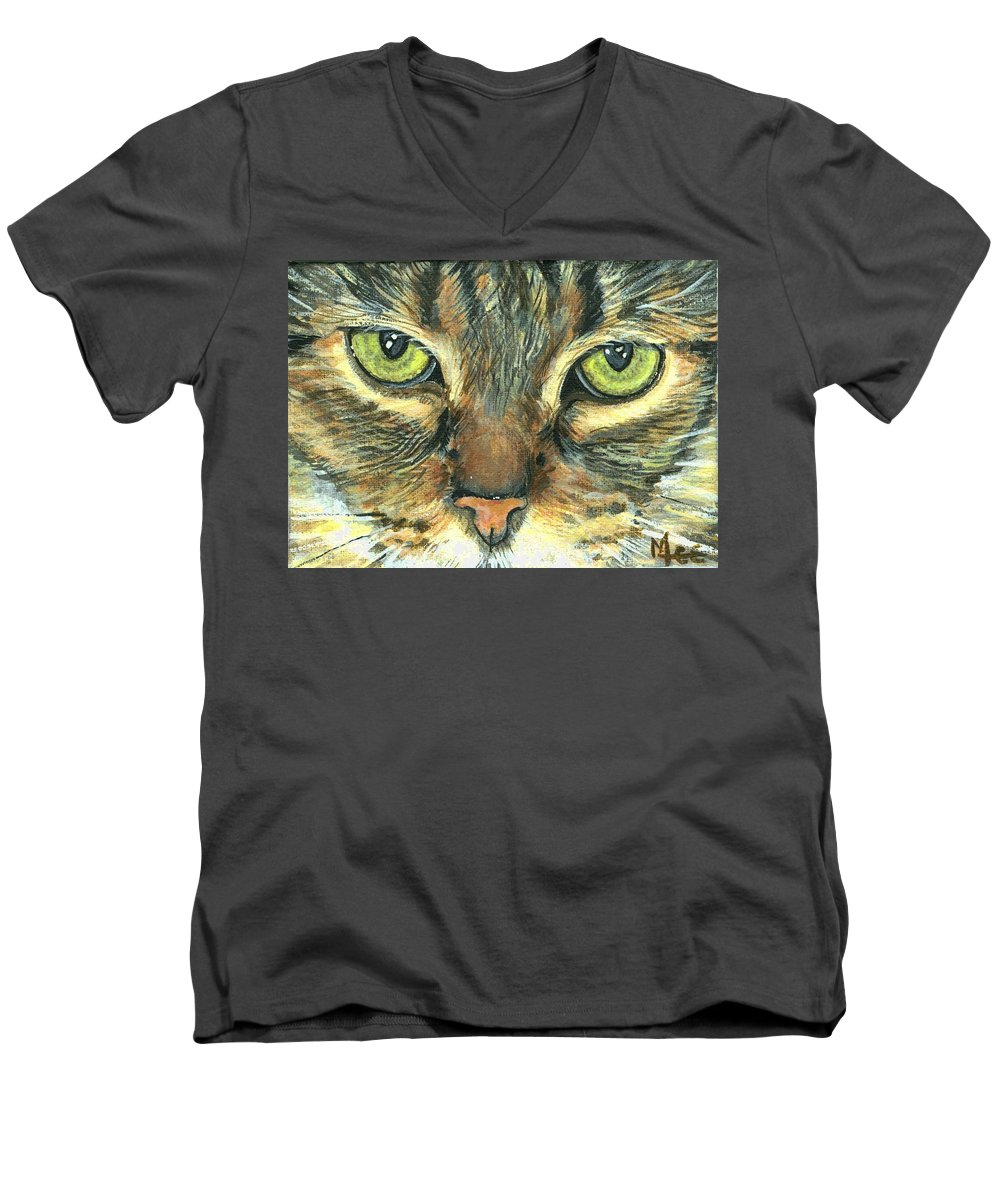 Charity Men's V-Neck T-Shirt featuring the painting Malika by Mary-Lee Sanders