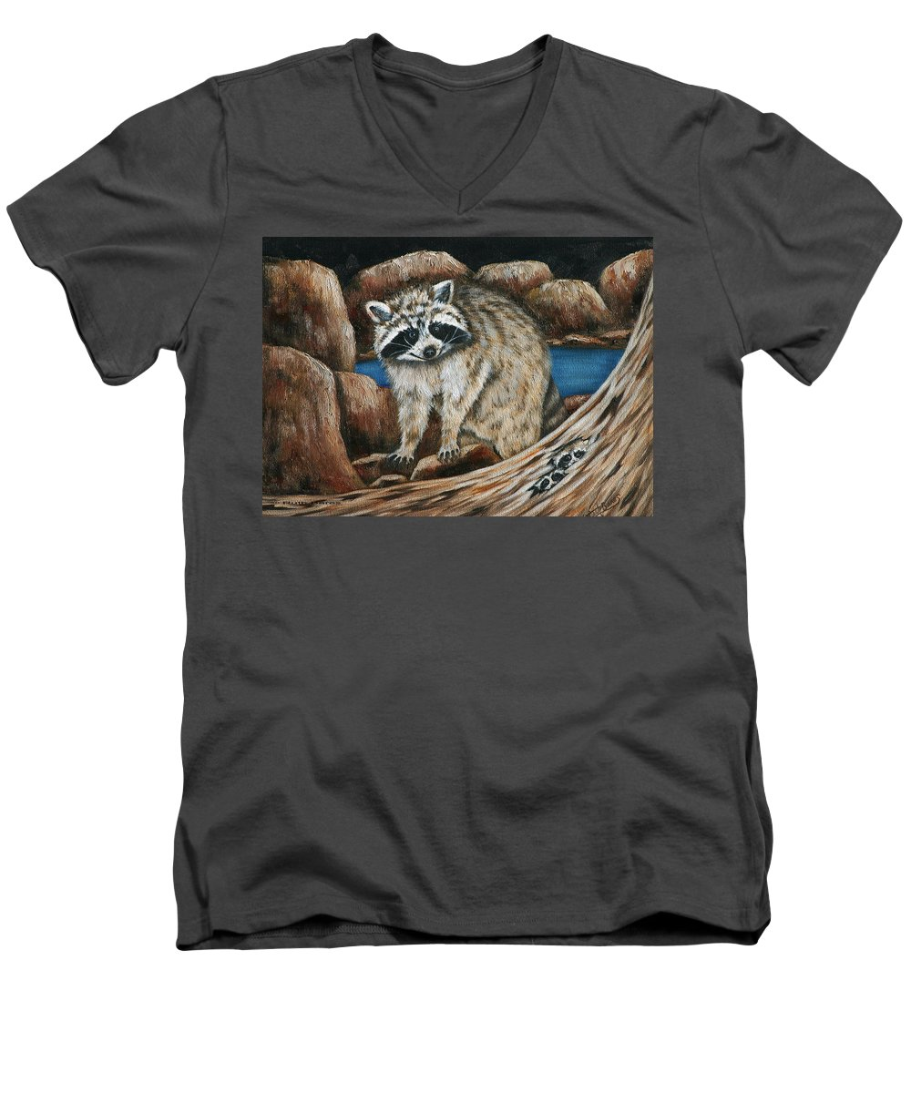 Racoon Men's V-Neck T-Shirt featuring the painting Mama Racoon by Ruth Bares