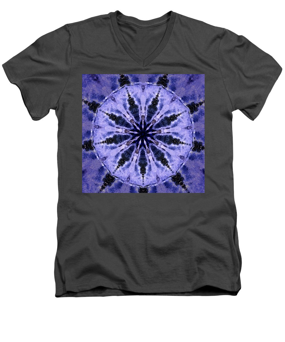 Mandala Men's V-Neck T-Shirt featuring the digital art Mandala Ocean Wave by Nancy Griswold