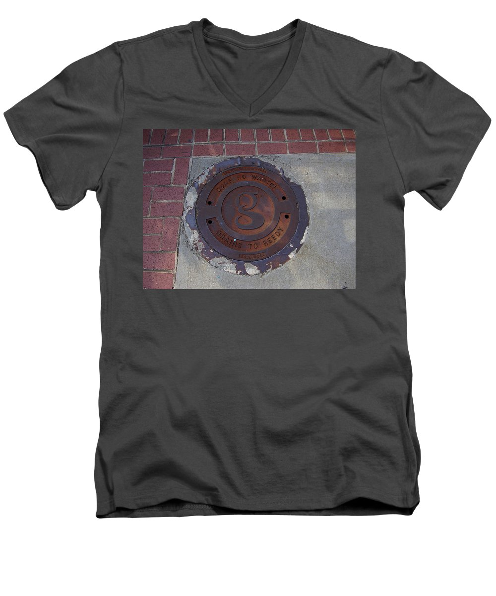 Manhole Men's V-Neck T-Shirt featuring the photograph Manhole II by Flavia Westerwelle