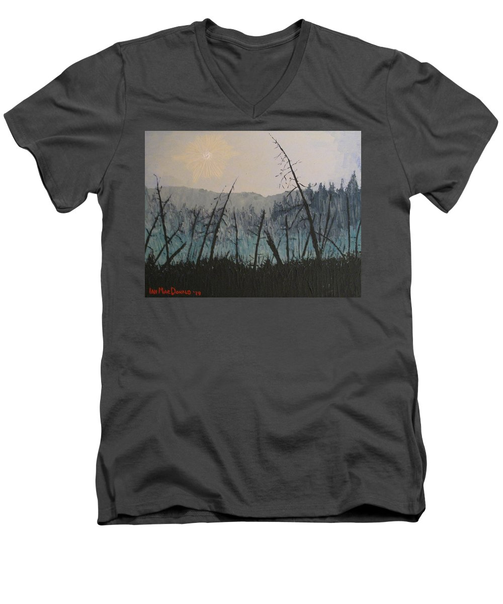 Northern Ontario Men's V-Neck T-Shirt featuring the painting Manitoulin Beaver Meadow by Ian MacDonald