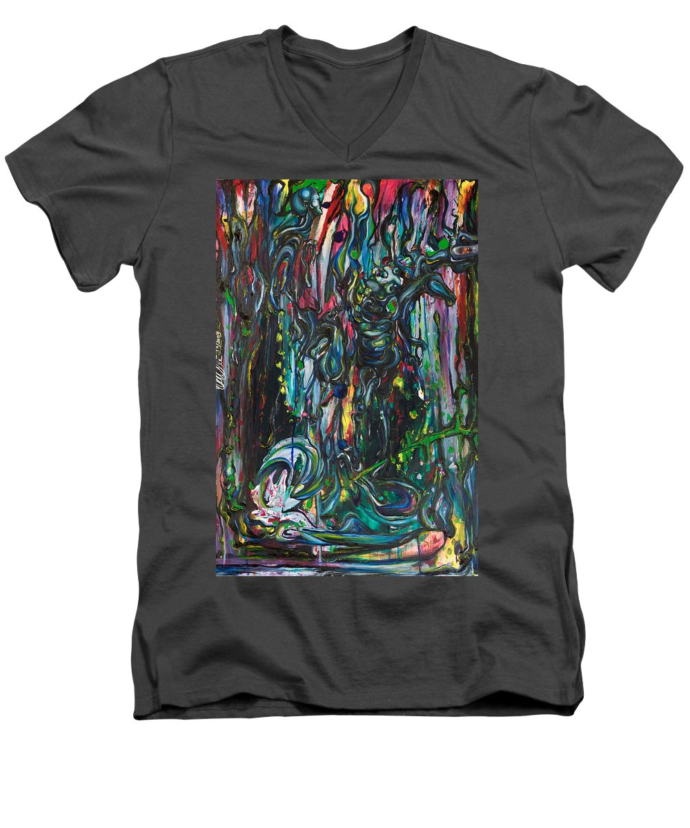 Surreal Men's V-Neck T-Shirt featuring the painting March Into The Sea by Sheridan Furrer