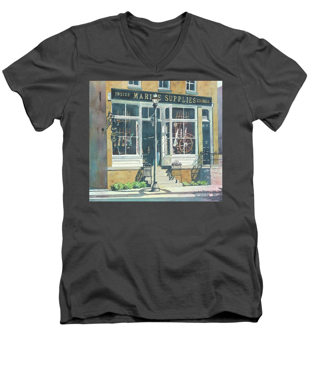 Storefronts Men's V-Neck T-Shirt featuring the painting Marine Supply Store by LeAnne Sowa