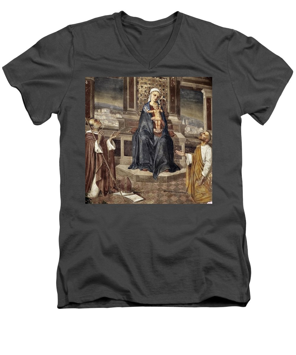 Italy Italian Mary Jesus Men Fresco Religious Religion Paint Painted Old Ancient Catholic Men's V-Neck T-Shirt featuring the photograph Mary And Baby Jesus by Marilyn Hunt