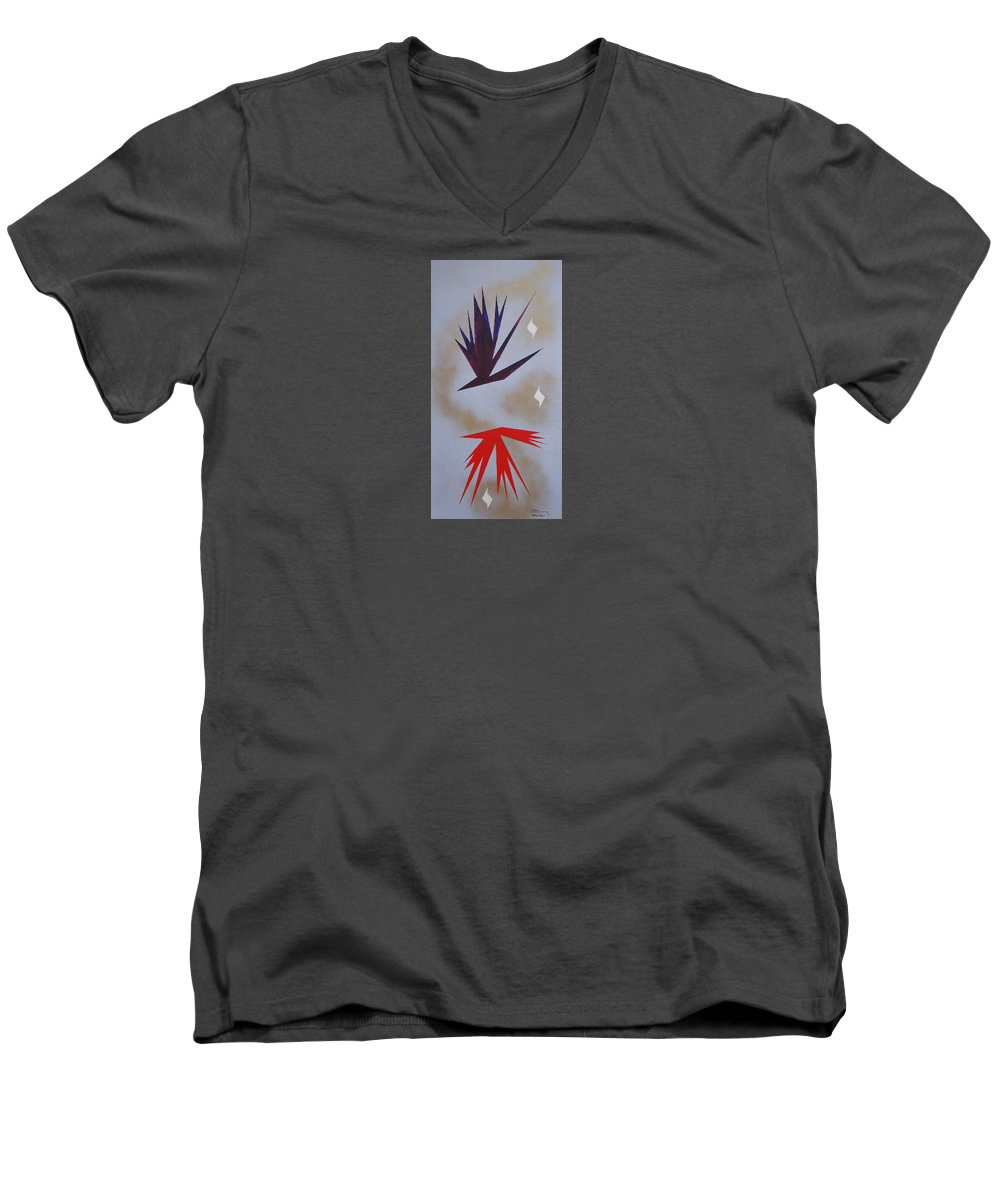 Birds Men's V-Neck T-Shirt featuring the painting Mating Ritual by J R Seymour