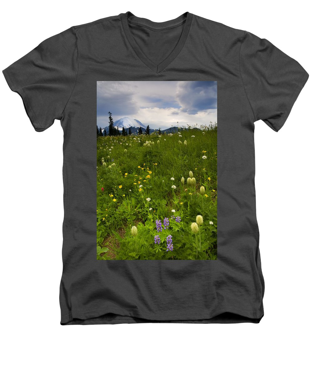Rainier Men's V-Neck T-Shirt featuring the photograph Meadow Beneath The Storm by Mike Dawson