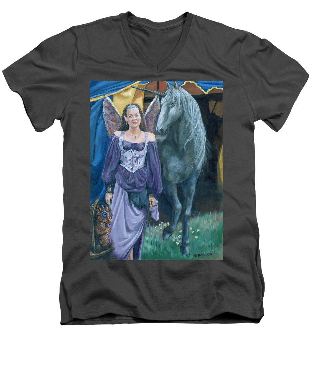Fairy Faerie Unicorn Dragon Renaissance Festival Men's V-Neck T-Shirt featuring the painting Medieval Fantasy by Bryan Bustard