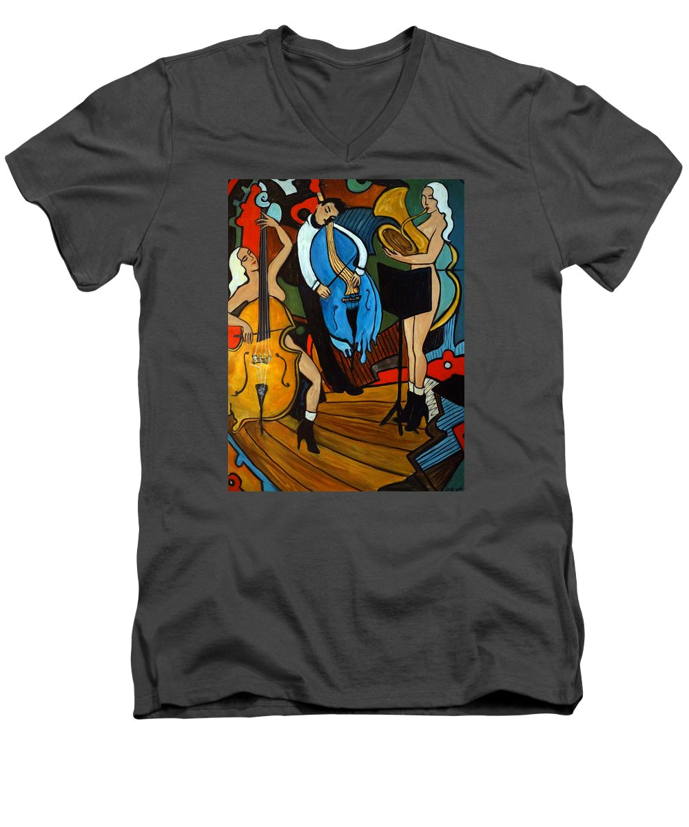 Musician Abstract Men's V-Neck T-Shirt featuring the painting Melting Jazz by Valerie Vescovi