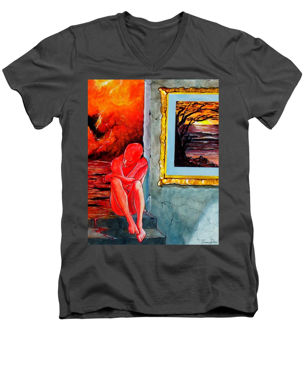 War Sunset Bombs Explosion Wait Loneliness Frustration Men's V-Neck T-Shirt featuring the painting Memoirs Of A Bloody Sunset by Veronica Jackson