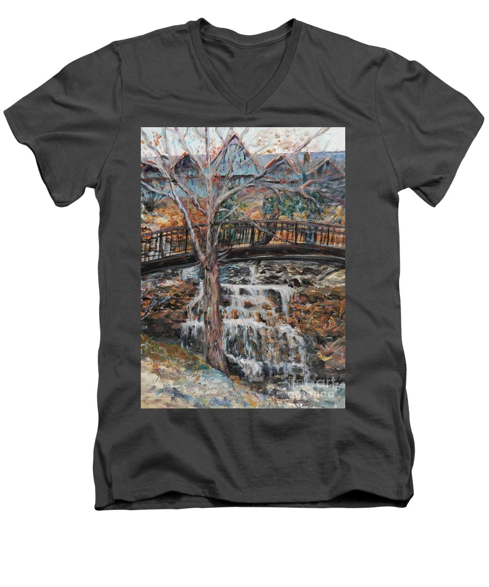 Waterfalls Men's V-Neck T-Shirt featuring the painting Memories by Nadine Rippelmeyer