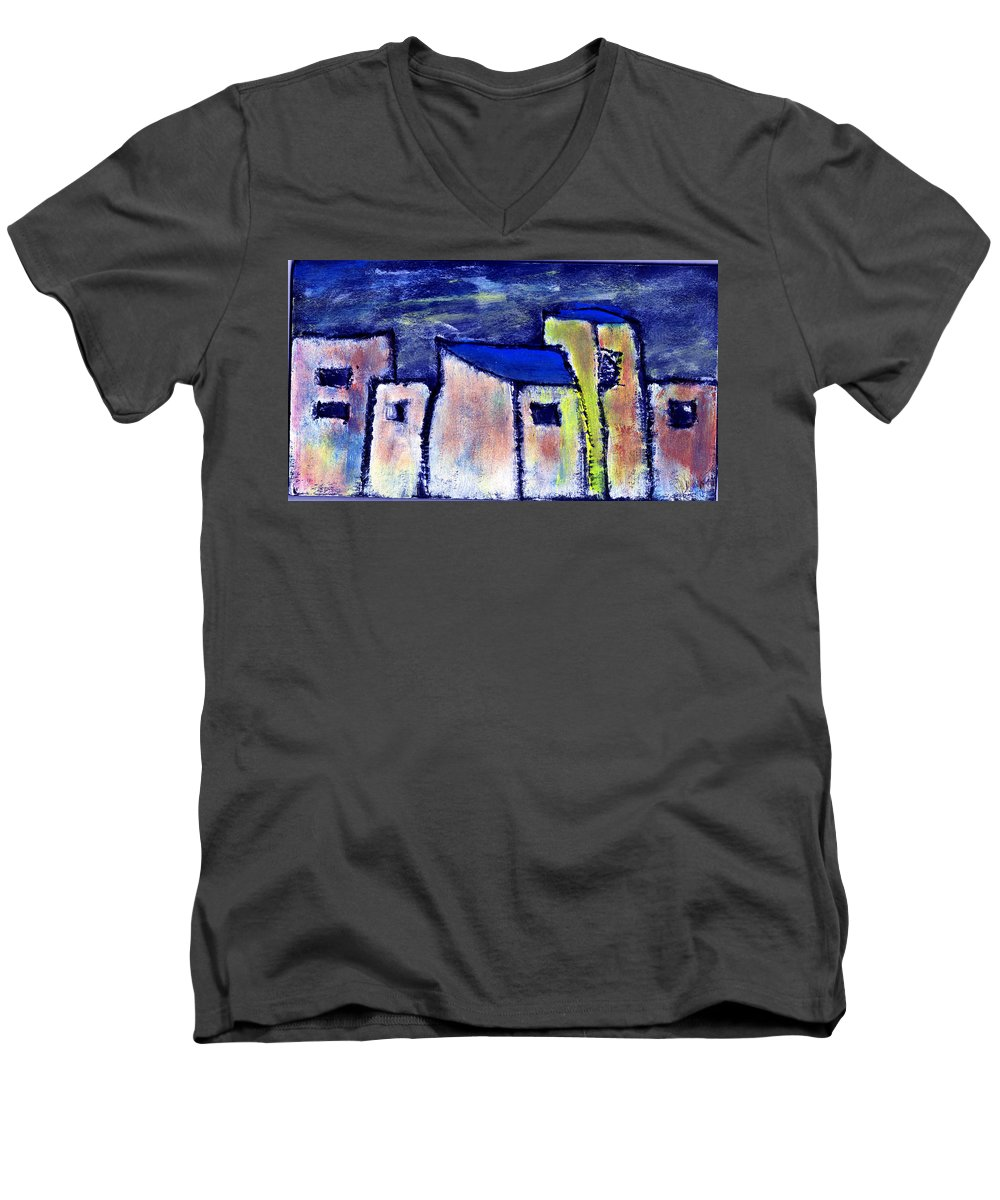 Buidings Men's V-Neck T-Shirt featuring the painting Memories by Wayne Potrafka