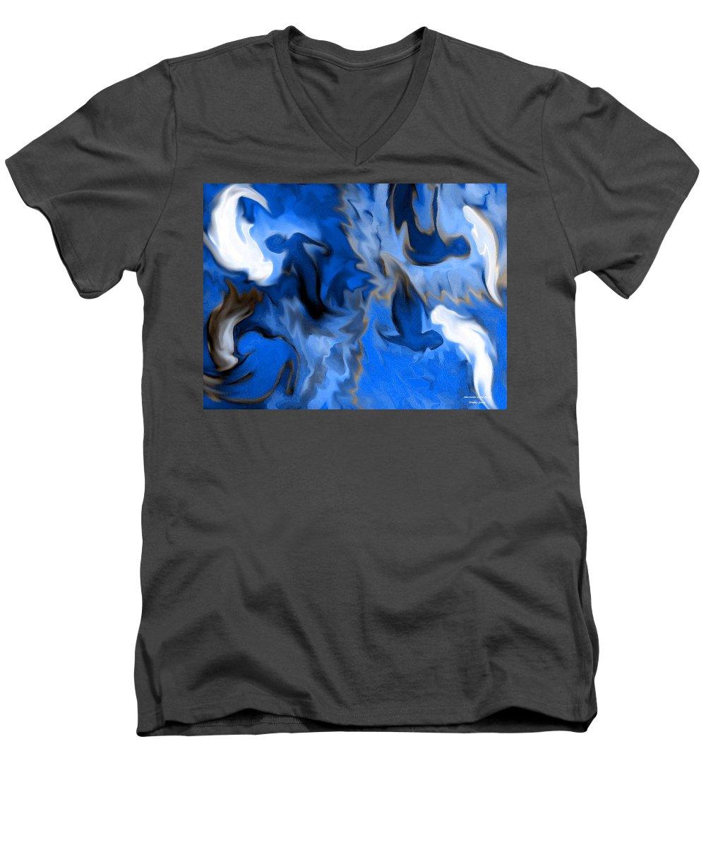 Mermaids Men's V-Neck T-Shirt featuring the digital art Mermaids by Shelley Jones