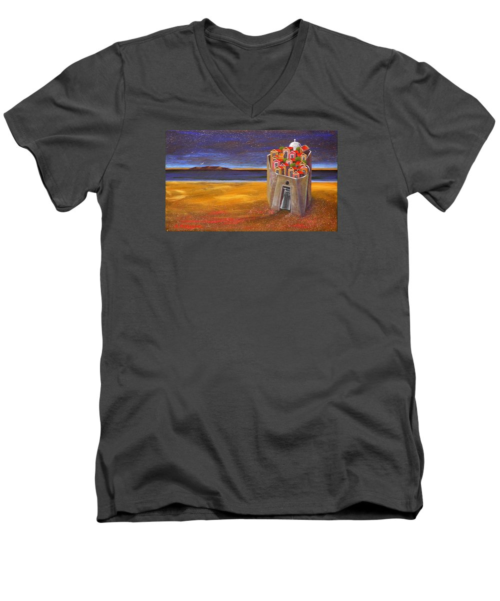 Superrealism Men's V-Neck T-Shirt featuring the painting Mesi Castle Village by Dimitris Milionis