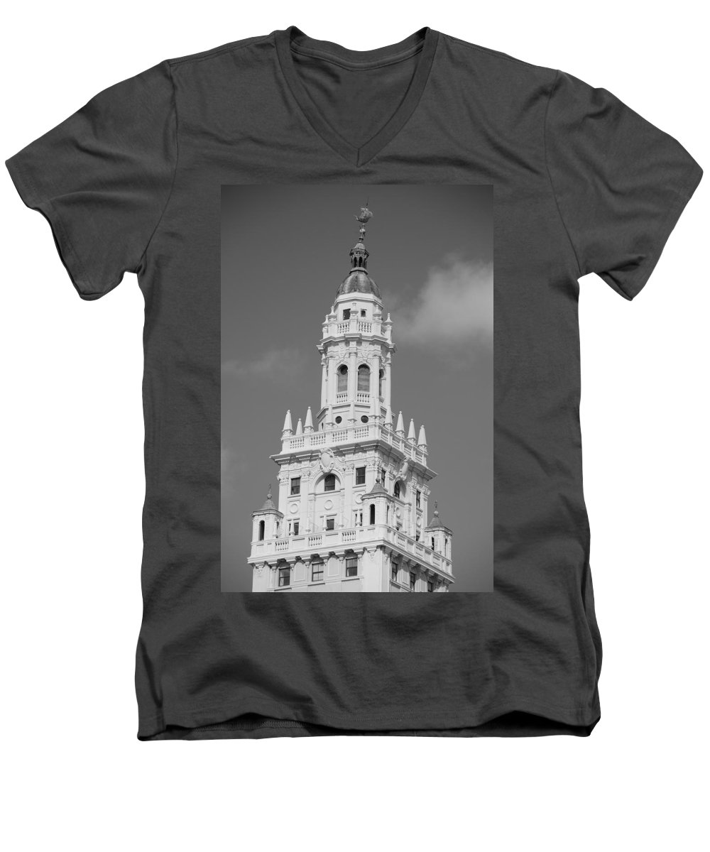 Architecture Men's V-Neck T-Shirt featuring the photograph Miami Tower by Rob Hans