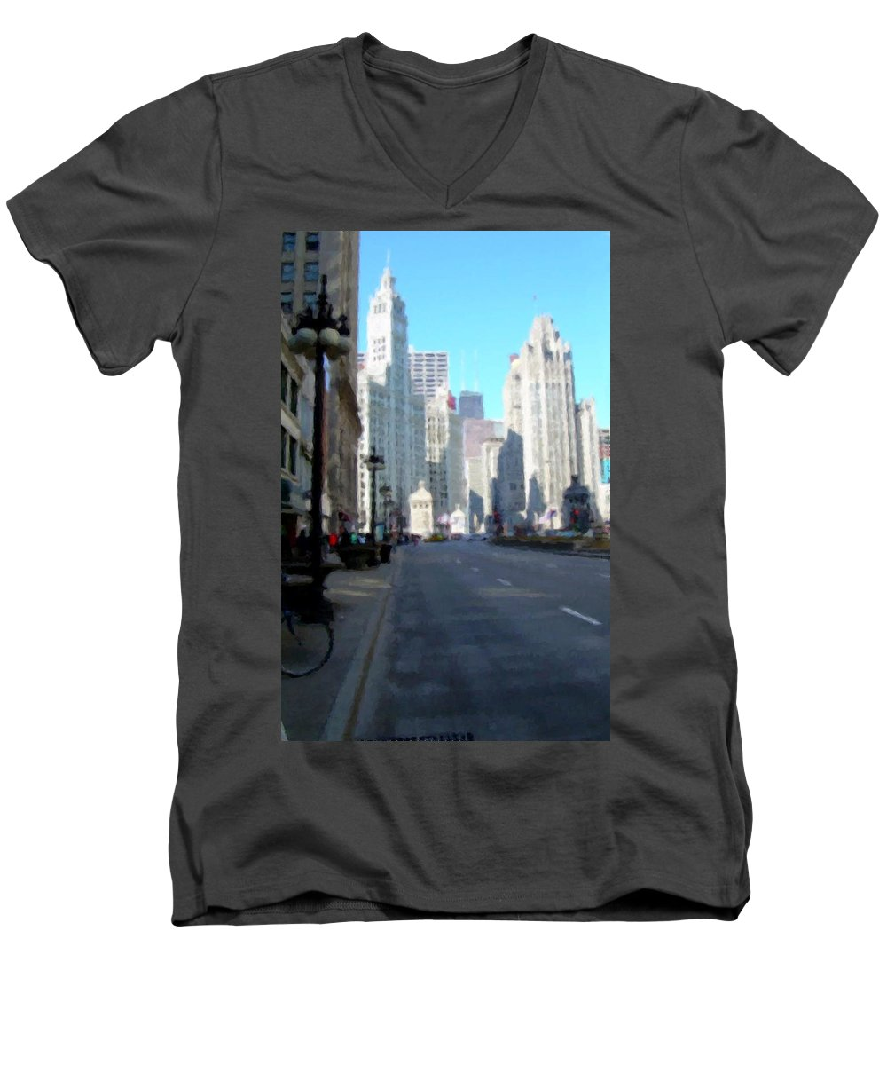 Chicago Men's V-Neck T-Shirt featuring the digital art Michigan Ave Tall by Anita Burgermeister