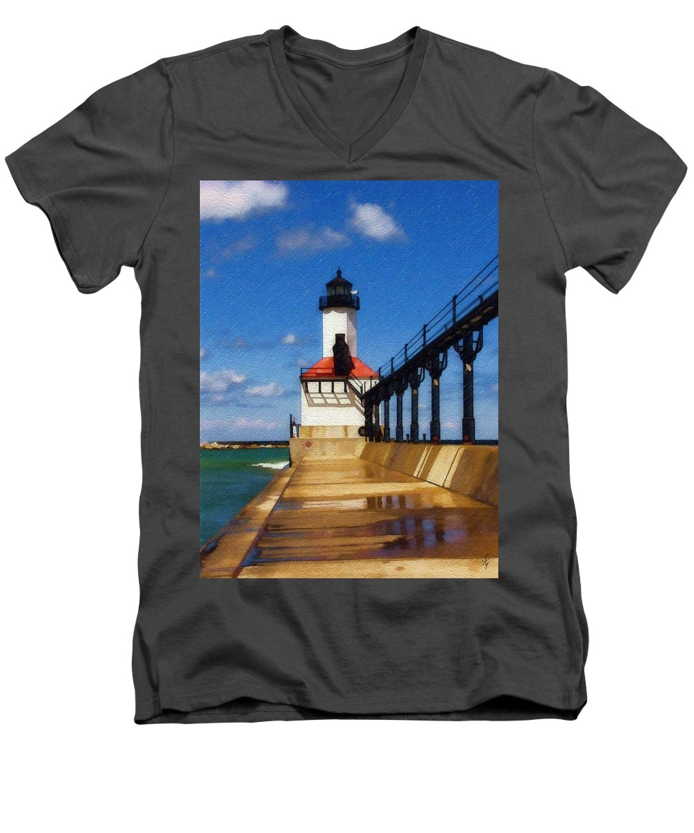 Lighthouse Men's V-Neck T-Shirt featuring the photograph Michigan City Light 1 by Sandy MacGowan