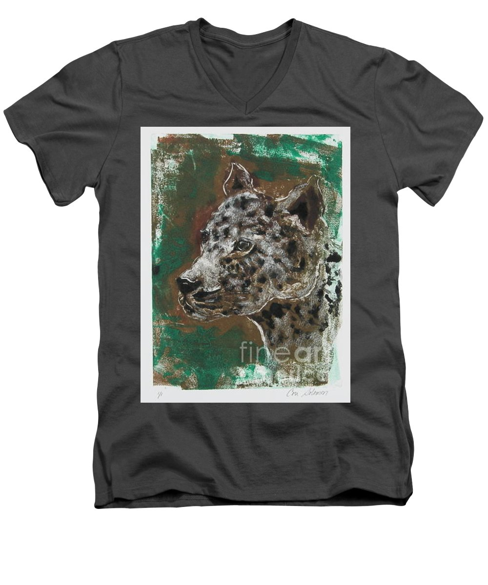 Monotype Men's V-Neck T-Shirt featuring the mixed media Midnight Prowler by Cori Solomon