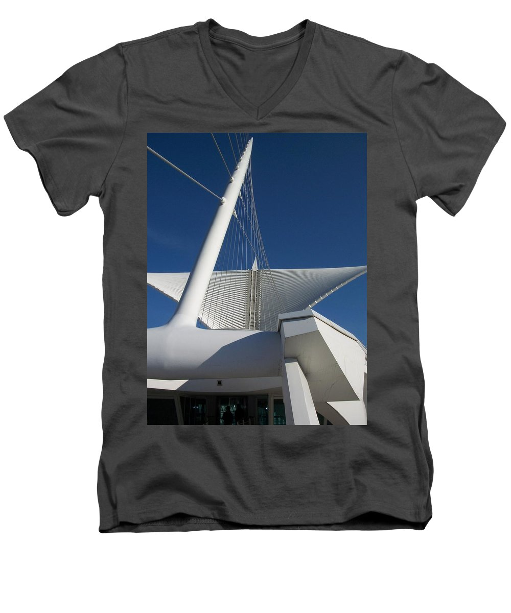 Mam Men's V-Neck T-Shirt featuring the photograph Milwaukee Art Museum Cropped by Anita Burgermeister