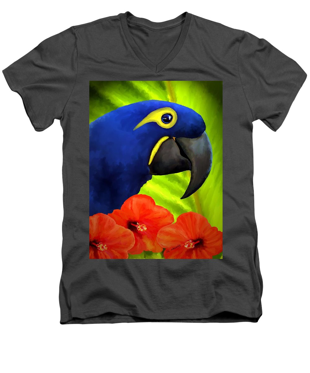 Hyacinth Macaw Men's V-Neck T-Shirt featuring the painting Mimi by David Wagner