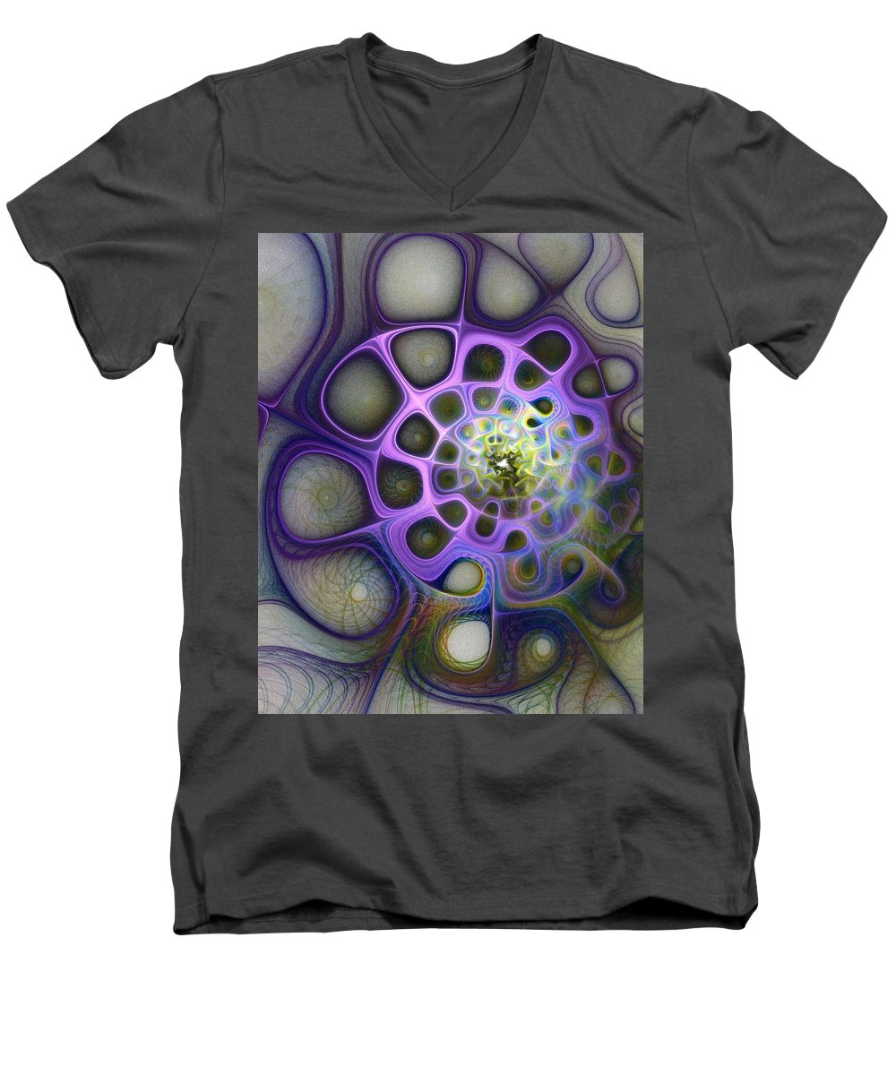 Digital Art Men's V-Neck T-Shirt featuring the digital art Mindscapes by Amanda Moore
