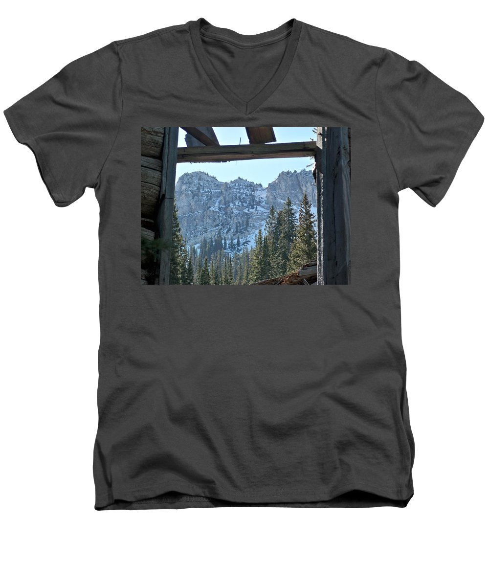 Mountain Men's V-Neck T-Shirt featuring the photograph Miners Lost View by Michael Cuozzo