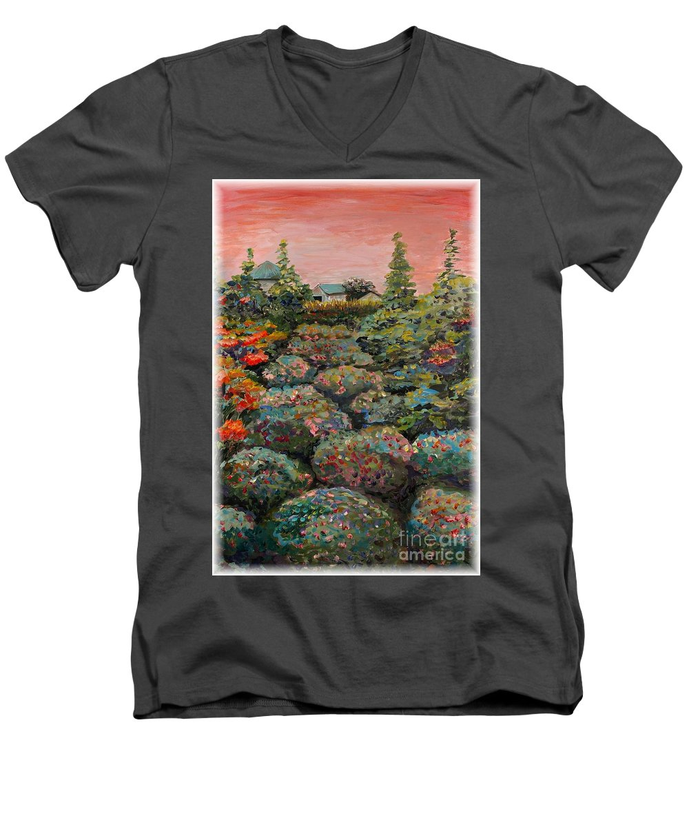 Minnesota Men's V-Neck T-Shirt featuring the painting Minnesota Memories by Nadine Rippelmeyer