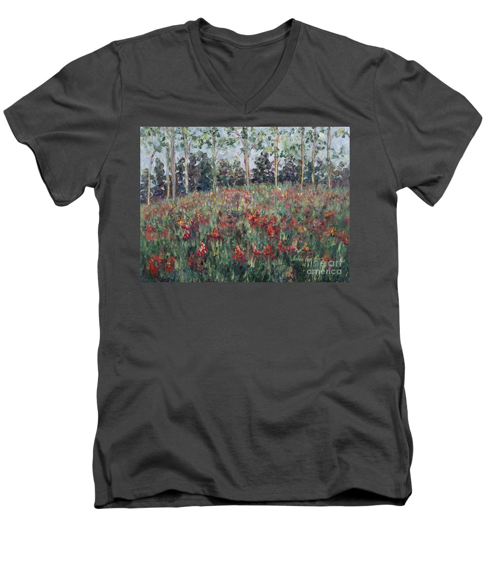 Landscape Men's V-Neck T-Shirt featuring the painting Minnesota Wildflowers by Nadine Rippelmeyer