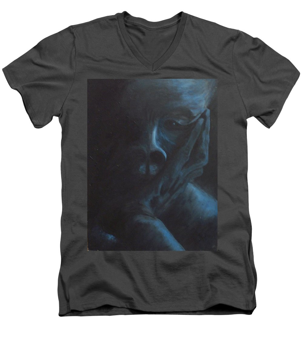 Sad Men's V-Neck T-Shirt featuring the painting Misery by Gale Cochran-Smith