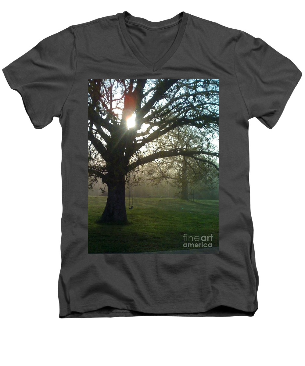 Mist Men's V-Neck T-Shirt featuring the photograph Misty Morning by Nadine Rippelmeyer