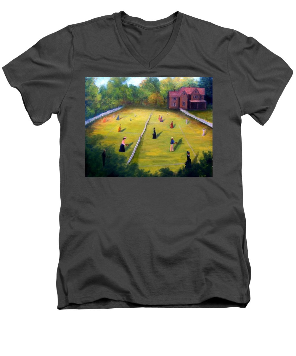 Tennis Art Men's V-Neck T-Shirt featuring the painting Mixed Doubles by Gail Kirtz