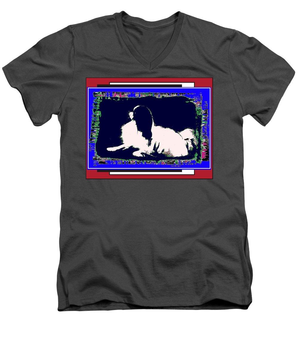 Mod Dog Men's V-Neck T-Shirt featuring the digital art Mod Dog by Kathleen Sepulveda