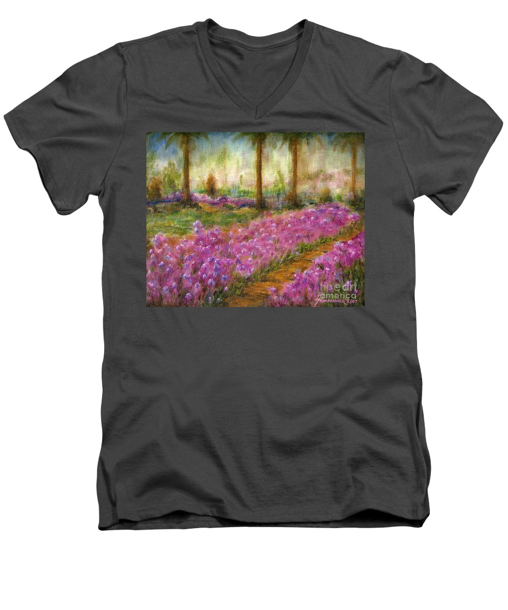 Monet Men's V-Neck T-Shirt featuring the painting Monet's Garden In Cannes by Jerome Stumphauzer