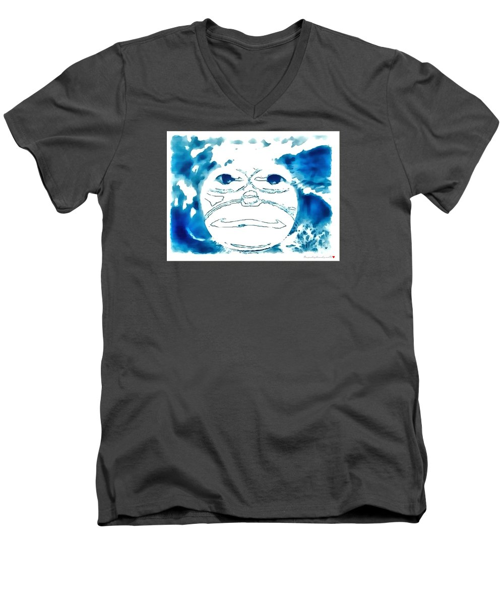 Monkey blue in thick paint adult v neck for sale by for Thick v neck t shirts