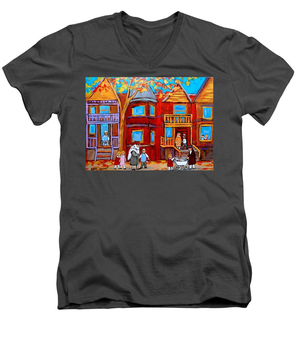 Outremont Men's V-Neck T-Shirt featuring the painting Montreal Memories Of Zaida And The Family by Carole Spandau