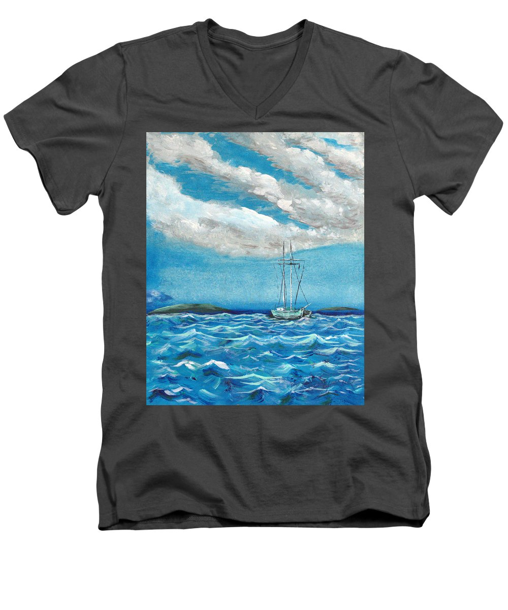 Impressionism Men's V-Neck T-Shirt featuring the painting Moored In The Bay by J R Seymour
