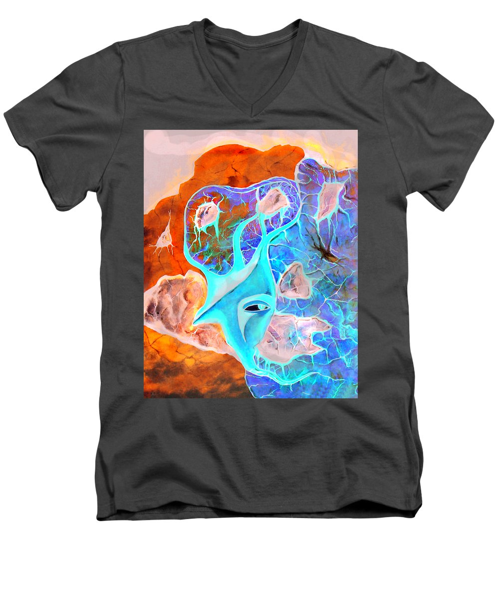 Surrealism Color Sky Haven Stones Men's V-Neck T-Shirt featuring the painting More Seconds In My Head by Veronica Jackson