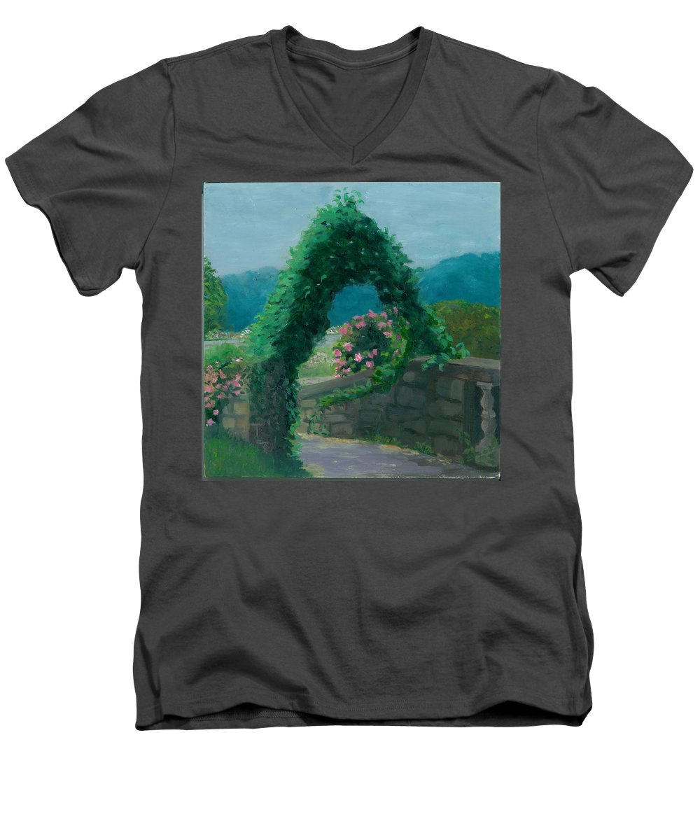 Landscape Men's V-Neck T-Shirt featuring the painting Morning At Harkness Park by Paula Emery