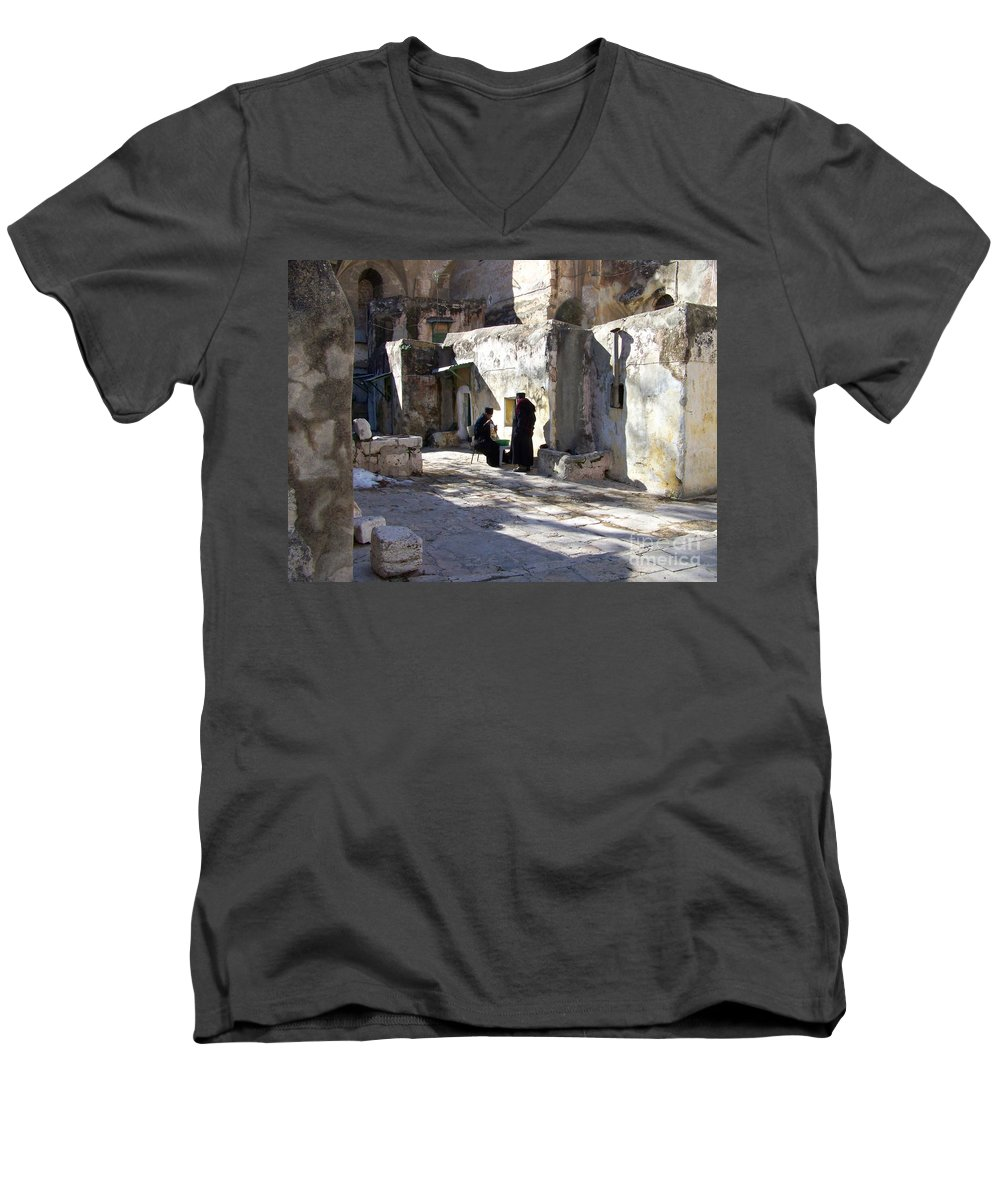 Jerusalem Men's V-Neck T-Shirt featuring the photograph Morning Conversation by Kathy McClure