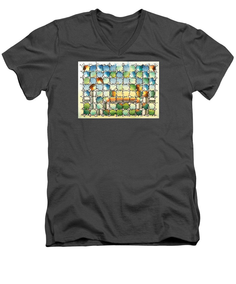 Watercolor Men's V-Neck T-Shirt featuring the painting Morning Gateway by Dave Martsolf