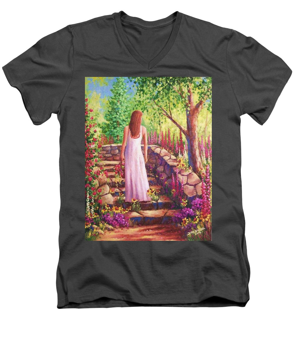 Woman Men's V-Neck T-Shirt featuring the painting Morning In Her Garden by David G Paul