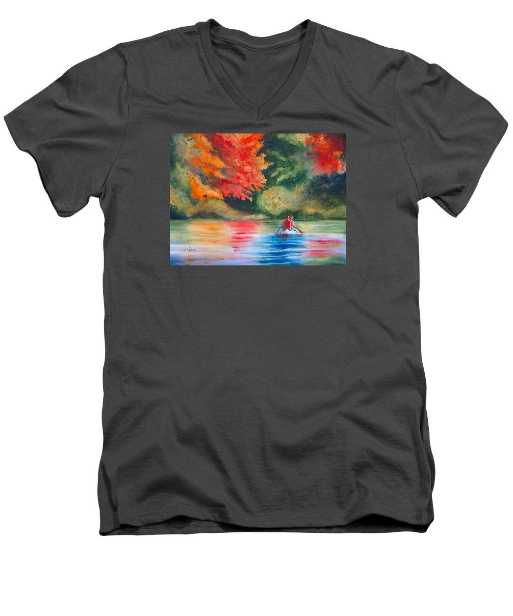 Lake Men's V-Neck T-Shirt featuring the painting Morning On The Lake by Karen Stark