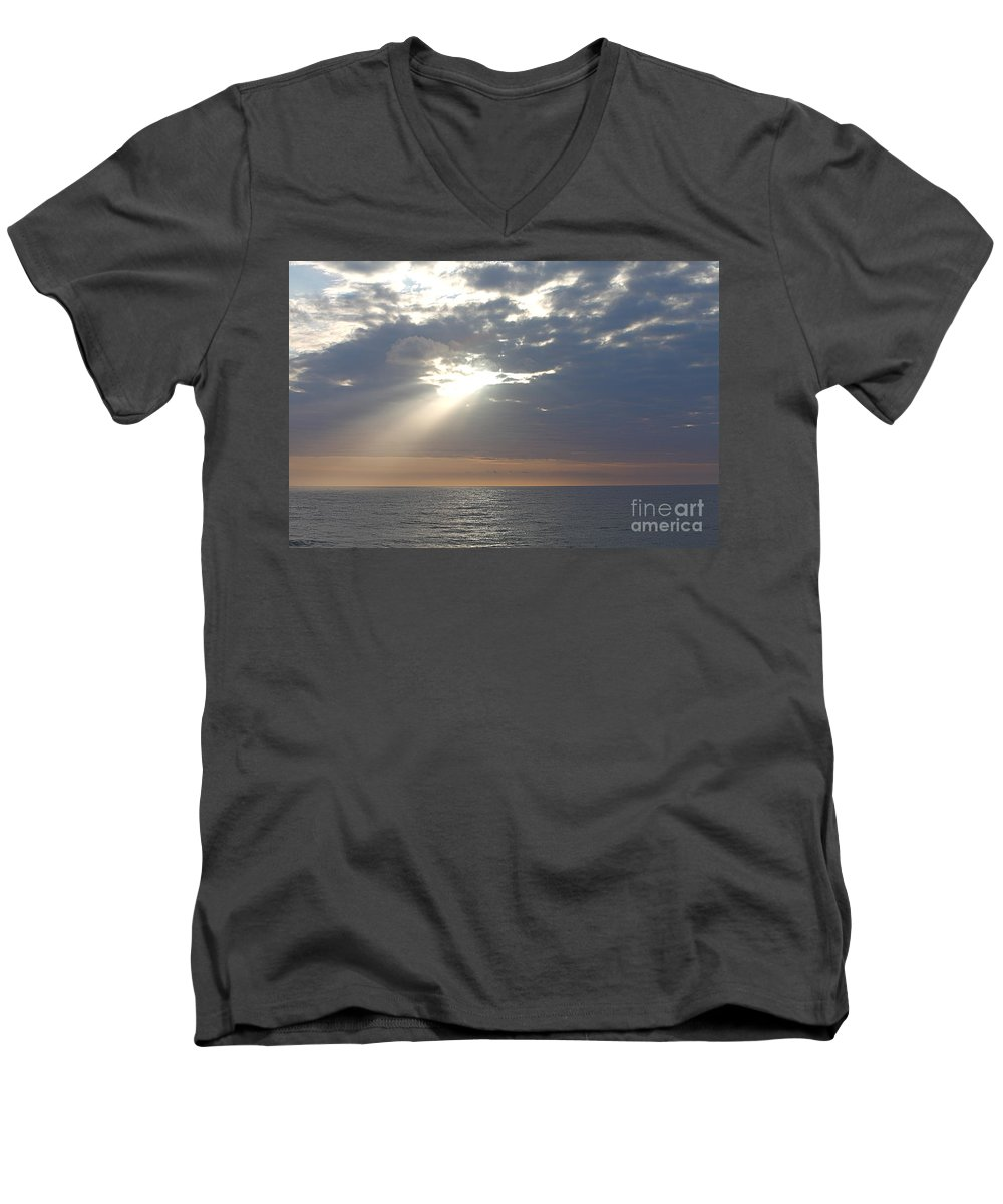 Sky Men's V-Neck T-Shirt featuring the photograph Morning Sunburst by Nadine Rippelmeyer